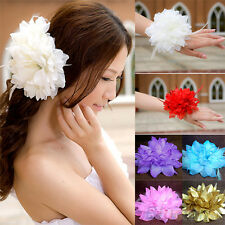 Bridal Wedding Party Flower Fascinator Elastic Pin Hair Wrist Corsage Brooch