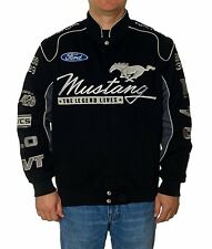 Ford Mustang Jacket Black Twill Jacket Mustang Collage Embroidered Logos New