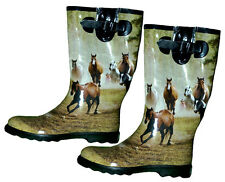 Horses Running Design Gumboots Size 6 7 8 10 Wellies Ladies Boots New