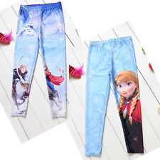 Girl Frozen Elsa Anna Tights Kids Princess Leggings Pants Trousers 4-10Y Clothes