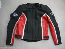 Ladies BMW Replica Black Red Leather Motorcycle Jacket -Size 14/16 Tall Long Arm
