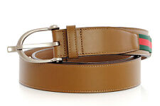 Mens Belt GUCCI Maple Brown Leather 309257 BGHWN 2566 Signature Web Spur Buckle