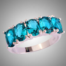 Newly Oval Cut Green Sapphire Gemstones Silver Fashion Jewelry Ring Size N P R T
