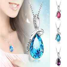 Fashion Girl Rhinestone Chain Crystal Waterdrop Necklace Pendant Wedding Jewelry