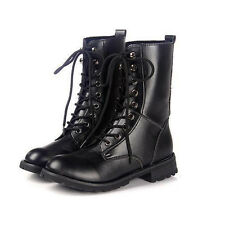 Womens Mens Lace Up Black Faux Leather Military Combat Hiking Martin Ankle Boots