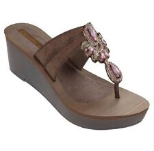 Grendha Women's Magia Brown / Bronze Platform Wedge Sandal