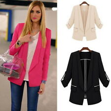 Womens Long Sleeve Casual Cardigan Suits Office Lady Zippered Pocket Blazers