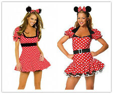 Halloween Womens Minnie Mouse Red Polka Dot Fancy Dress Costume Outfit Hen Party
