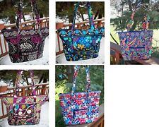VERA BRADLEY Villager Tote Bag Purse NEW Magenta Midnight Plum Venetian Heather