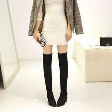 Womens Trendy Faux Suede Pull On Wedge Platform Tight Over The Knee Boots Shoes