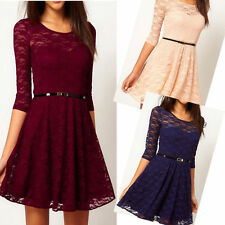 Sexy Women Spoon Neck 3/4 Sleeve Lace Skater Dress Mini Dress Party 5 Size