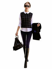 Women Lady Long Sleeve 2 in 1 Grid Long Sleeve Shirt Slim Blouse Tops T-shirt