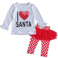 Toddler Baby Girls Christmas I LOVE SANTA Top+Tutu Leggings 2pcs Outfits Sets