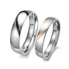 Heart-shaped Titanium Steel Promise Ring Couple Wedding Bands Lover gift Sz 6-15