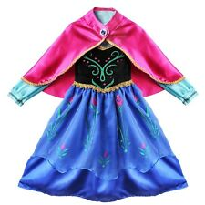 Xmas FROZEN Anna Princess Girl Cosplay Costume Infants 3 Layers Party Dress+Cape
