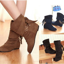 New Women's Faux Suede Round Head Flat Heel Increased Wedge Bow Boots Plus Size
