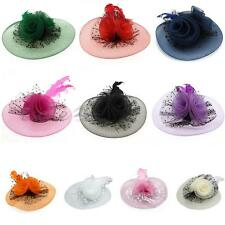 Women Feather Organza Hat Floral Clip Fascinator Wedding Party Hot