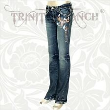 Trinity Ranch Western Cowgirl LONGHORN Stretchy Bling Jeans Montana West TEXAS