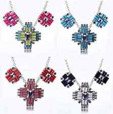 Fashion Gold Punk Geometric Resin Alloy Crystal Clavicle Chain Crew Necklace P33