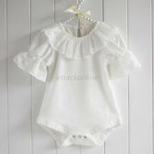 Kid Baby Short Sleeve T-shirt Girls Ruffled Lace Collar Romper Bodysuit Jumpsuit