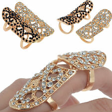 Gothic Women Stylist Punk Full Crystal Scroll Armor Joint Knuckle Finger Ring