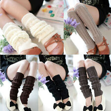 Women Winter High Knee Knit Crochet Knitted Leg Warmers Legging Boot Cover Socks