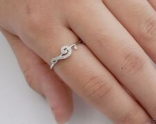 CZ Music Note Ring Sterling Silver Rhodium Plated Treble Clef Jewelry Selectable