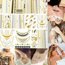 1 Sheet Temporary Metallic Tattoo Gold Silver Black Flash Tattoos Flash Inspired