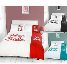 His And Her Side Collection King Size Duvet Quilt Cover Pillowcases Set NEW