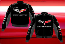 Corvette Jacket Collage Logos Black Twill Embroidered Licensed JH Design Jackets