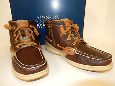 NEW SPERRY TOP-SIDER MARELLA STS90118 BROWN LEATHER WITH TAN TRIM ANKLE BOOTS
