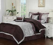 Kashmir 7 Piece  Comforter Bedding Set Bed in a Bag Silver & Plum Floral