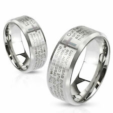 316L Stainless Steel Laser Etched Lord's Prayer Wedding Band Ring Size 5-13