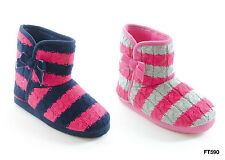 Girls / Kids / Childs Pink Knitted Stripe Boot Slippers
