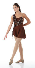 SECRETS Contemporary Lyrical Dress Costume Ballet Brown Sequin Child & Adult
