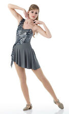SECRETS Lyrical Dress Costume Ballet Contemporary Gray Sequin CM & Adult Sizes