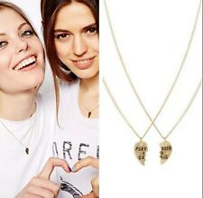 2pc Gold Plated Hearts Partners in Crime Sisters Best Friend BFF Chain Necklaces