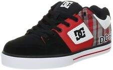 DC Shoes Mens Pure XE Skate Shoes Red Plaid and Black Sneakers Model 301722