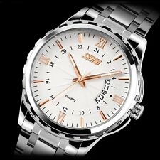 New Men Watches Stainless Steel Dial Date Sport Noctilucent Quartz Wrist Watch