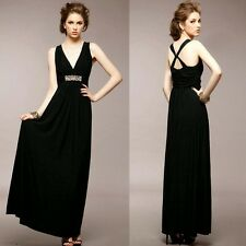 Elegant Wrapped V-neck Sparkle Beads Pleated Womens Evening Party Dress Stretch