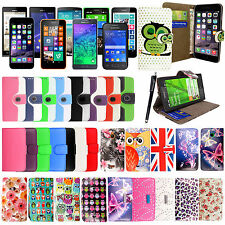 Premium Quality PU Leather Book Wallet Flip Case Cover For Mobile Phones+Stylus