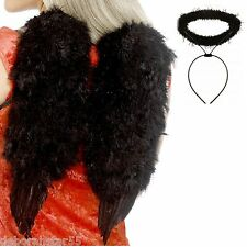 Black Angel Wings Black Angel Halo Black Angel Halloween Costume Wings Halo O/S
