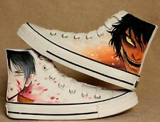 Fashion Unisex High Ankle Canvas Shoes Attack on Titan Eren Cartoon Sneakers HOT