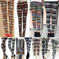 Fashion Womens Colorful Pattern Retro Knitted Tights Pants