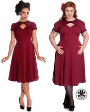 HELL BUNNY Nell ~ Burgundy 40s Vintage Pinup Peep Dress ~ Retro Rockabilly 50s