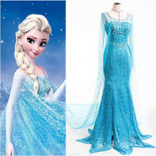 Elegant Princess FROZEN ELSA Women Gown Dress Cosplay Costume For Adult Ladies
