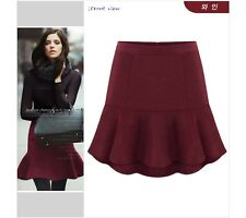 Women High Waist Slim Fitted Woolen OL Hip Fishtail Skirt Solid Short Mini Skirt