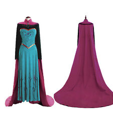Disney Frozen Elsa Coronation Costume Long Sleeve Fancy Dress+Cloak For Adult