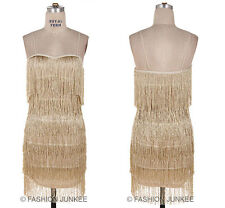 GOLD FRINGE DRESS Flapper 1920s Vintage Halloween Costume Cocktail Mini S M L