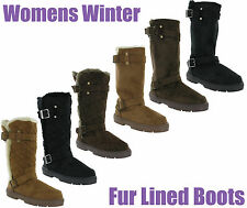 Ella Fur Lined Quilted Womens Buckle Warm Lined Winter Snugg Boots UK3-8